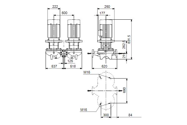 Габаритный чертеж насосов TPD 125-110/4 A-F-A-BQQE