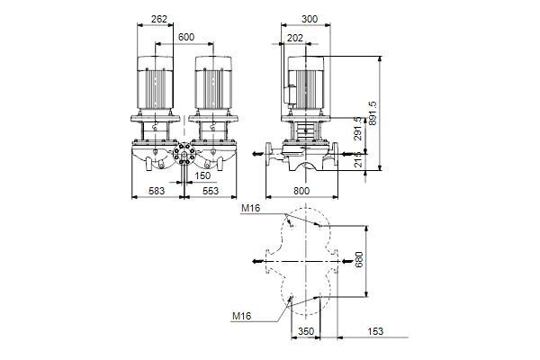 Габаритный чертеж насосов TPD 150-70/6 A-F-A-BQQE