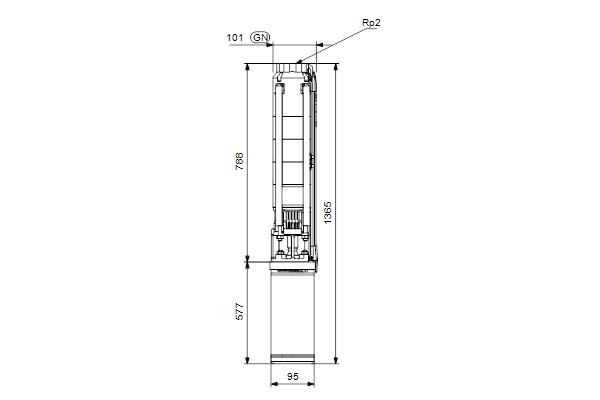 Габаритный чертеж насосов SP 9-11