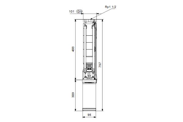 Габаритный чертеж насосов SP 7-5