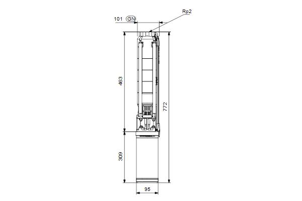Габаритный чертеж насосов SP 11-3