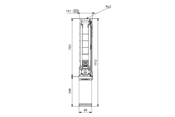 Габаритный чертеж насосов SP 11-7