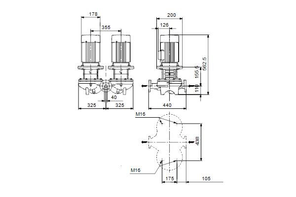 Габаритный чертеж насосов TPD 40-140/4 A-F-A-BQQE