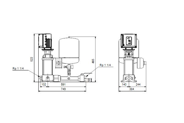 Габаритный чертеж насосов Hydro Solo E CRE 1-6 HQQE