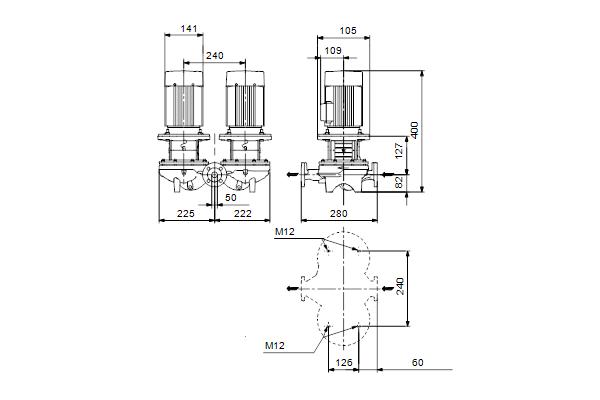 Габаритный чертеж насосов TPD 50-60/4 A-F-A-BQQE