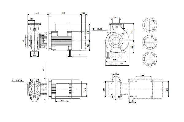Габаритный чертеж насосов NB 125-500/524 A-F2-A-E-BQQE