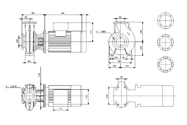 Габаритный чертеж насосов NB 150-200/210-168 A-F1-A-E-BQQE