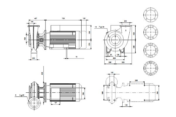 Габаритный чертеж насосов NB 200-450/407 A-F1-A-E-BQQE