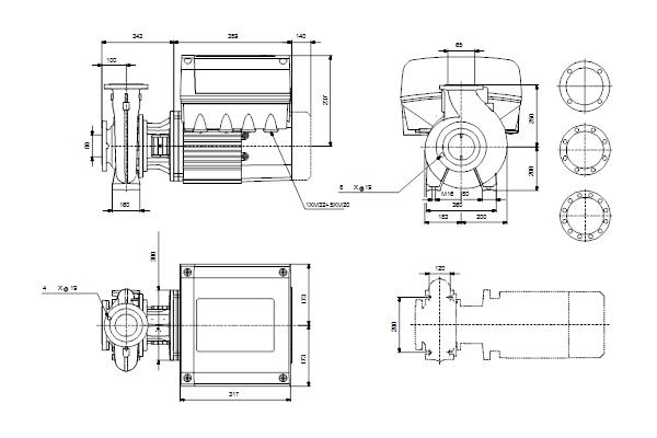 Габаритный чертеж насосов NBE 65-250/270 A-F2-A-E-BAQE
