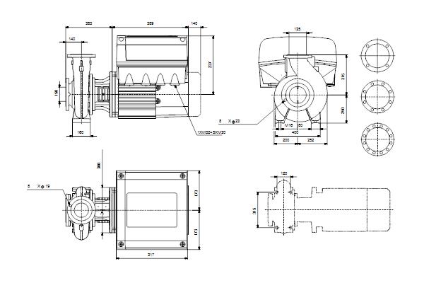 Габаритный чертеж насосов NBE 125-200/196-180 EUP A-F2-A-E-BAQE