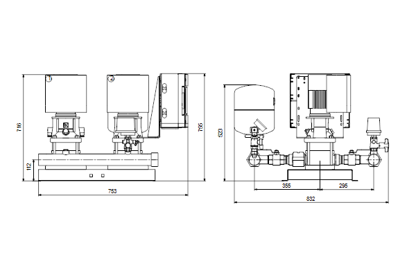 Габаритный чертеж насосов HYDRO MULTI-E 2 CRE1-13