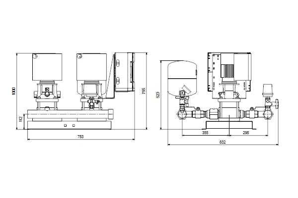 Габаритный чертеж насосов HYDRO MULTI-E 2 CRE5-14