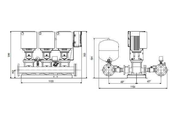 Габаритный чертеж насосов HYDRO MULTI-E 3 CRE15-2