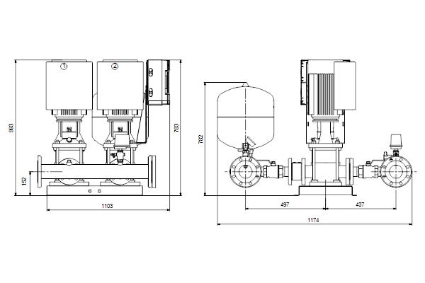 Габаритный чертеж насосов HYDRO MULTI-E 2 CRE20-4