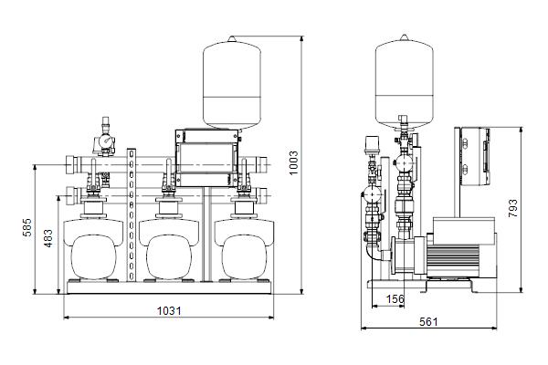 Габаритный чертеж насосов HYDRO MULTI-E 3 CME10-3