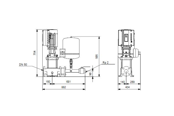 Габаритный чертеж насосов Hydro Solo E CRE 15-2 HQQE