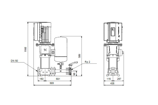 Габаритный чертеж насосов Hydro Solo E CRE 20-7 HQQE