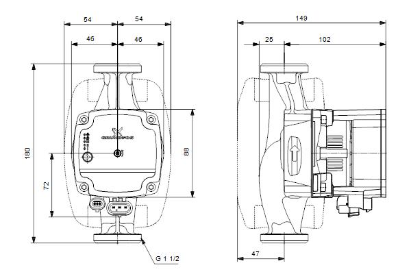 Габаритный чертеж насосов ALPHA1 L 25-40 180