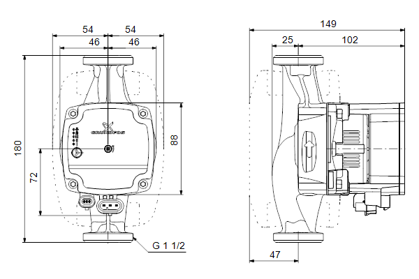Габаритный чертеж насосов ALPHA1 L 25-60 180