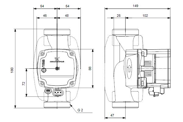 Габаритный чертеж насосов ALPHA1 L 32-60 180