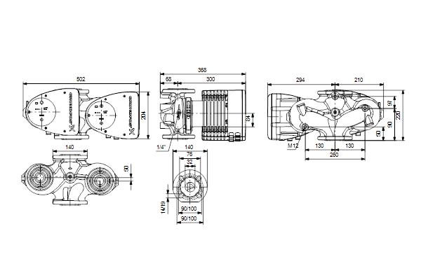 Габаритный чертеж насосов MAGNA1 D 32-120 F