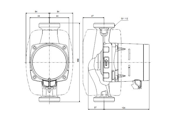 Габаритный чертеж насосов ALPHA2 25-60 N 180