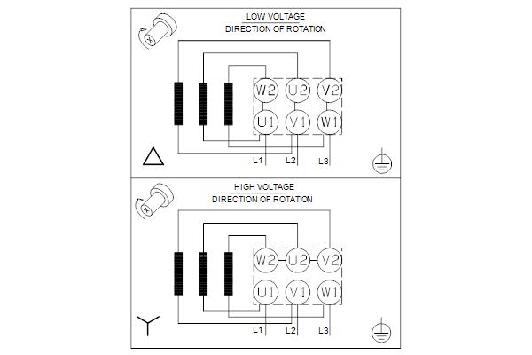 Схема подключений насосов TPD 50-90/4 A-F-A-BQQE