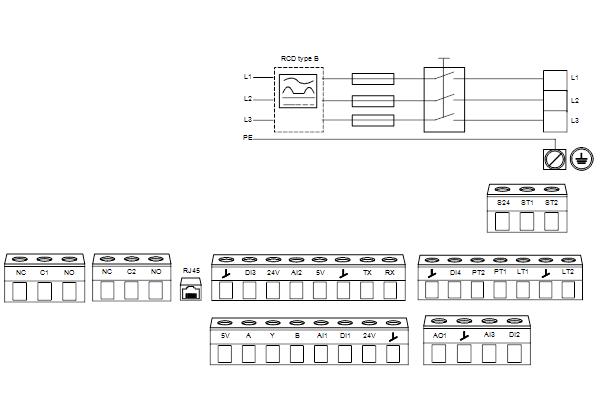 Схема подключений насосов NBE 50-250/222 A-F2-A-E-BQQE